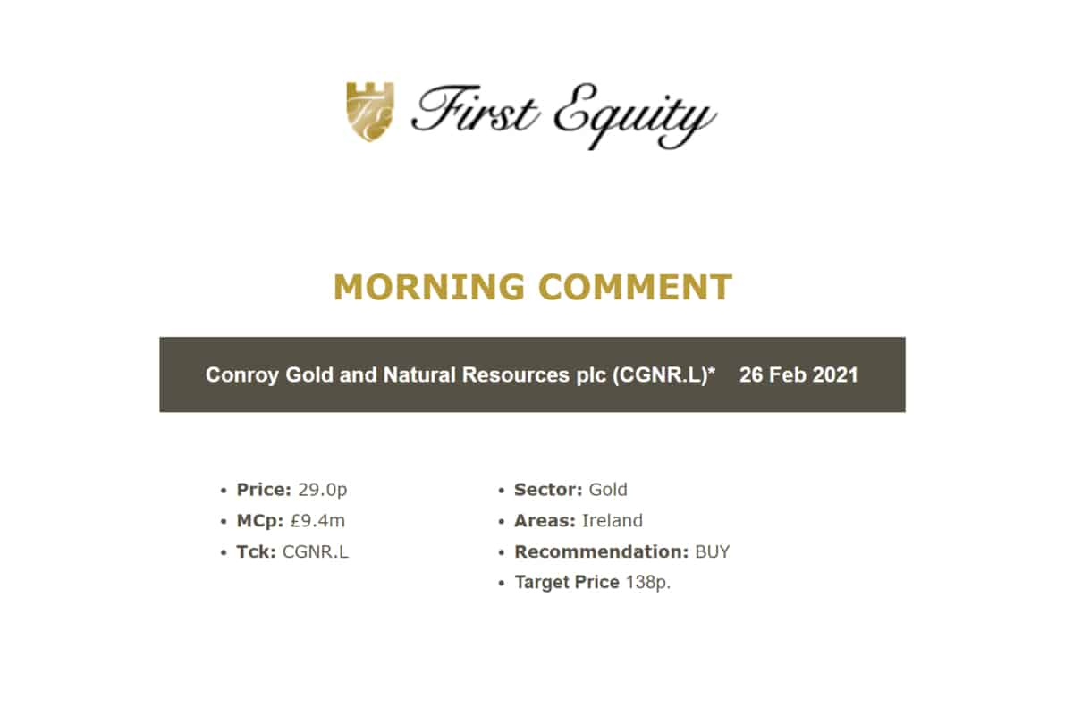 Conroy Gold & Natural Reso (CGNR.L) New Joint Venture LOI.
