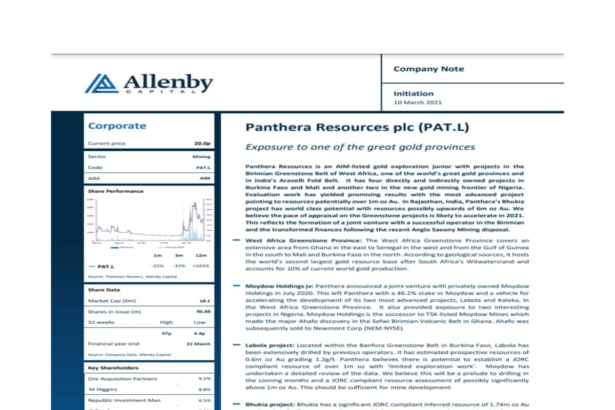 Panthera Resources Plc (PAT.L) Initiation of Research by Allenby Capital